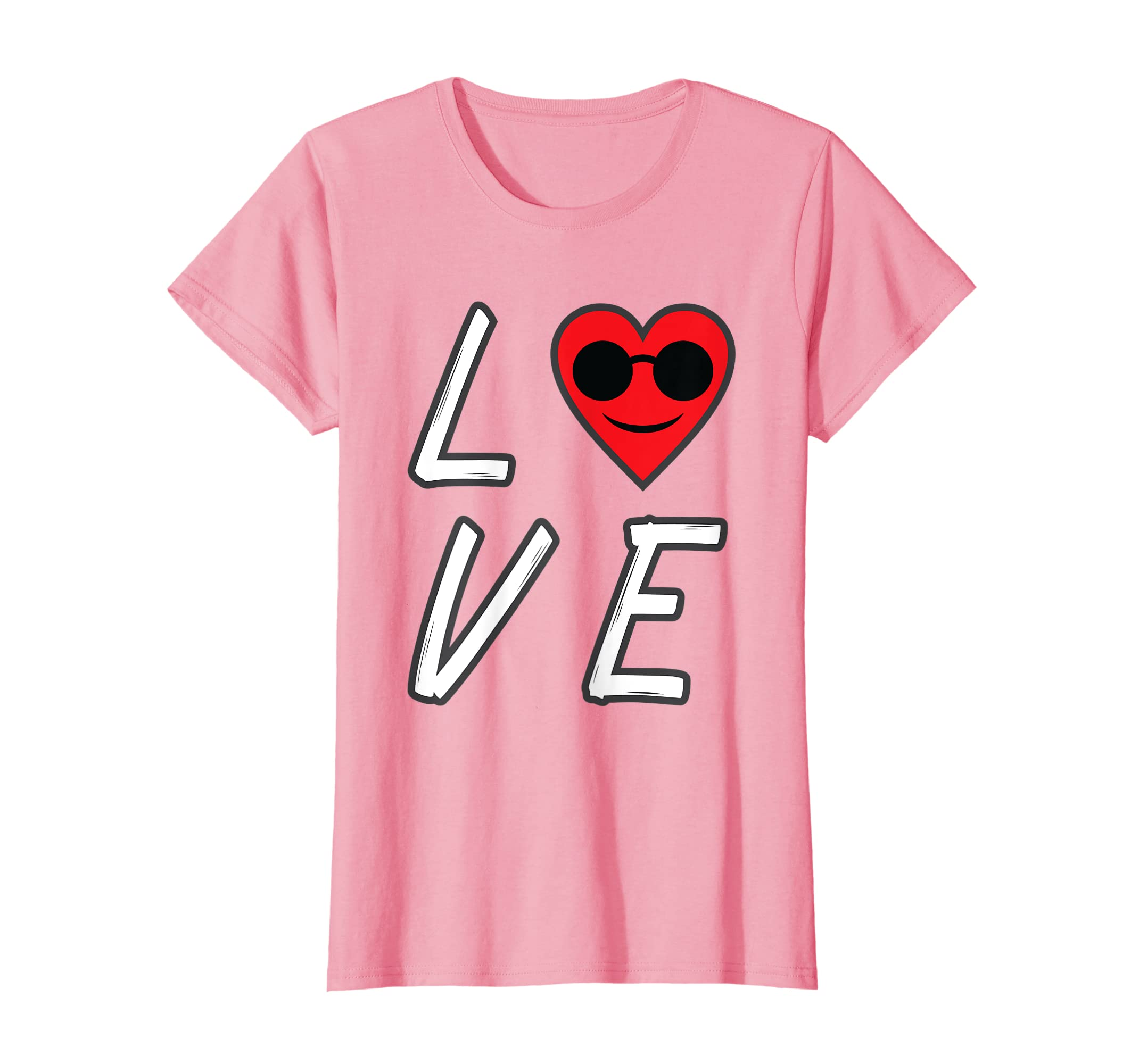 a34d95195f Amazon.com  Love Heart Emoji With Sunglasses T-Shirt Valentines Day Tee   Clothing