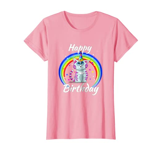 Amazon Toddler Cat Rainbow Birthday Shirt Kids Women Clothing