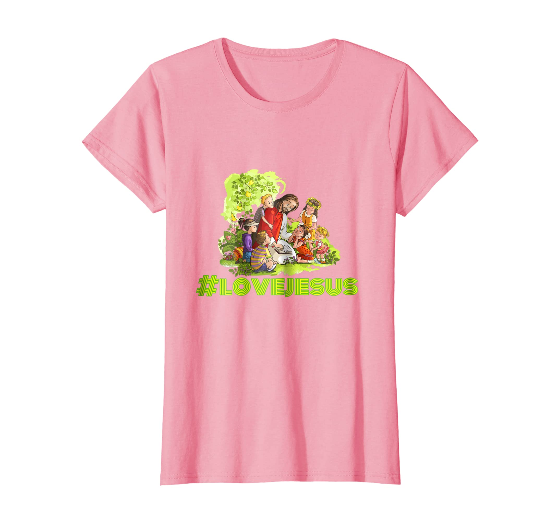 Amazon.com: Love Jesus Colorful Jesus Christian Cartoon T-shirt ...