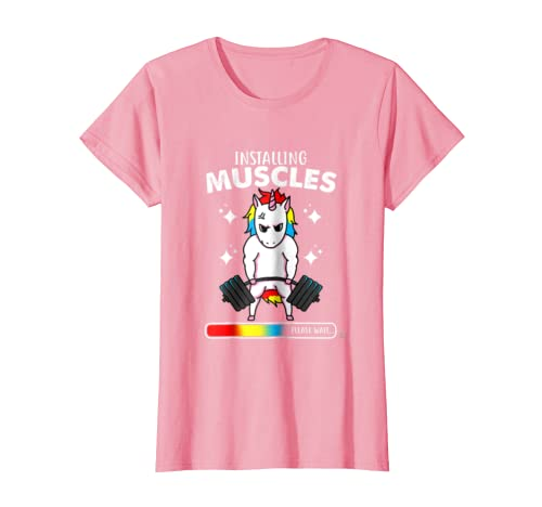 f571dd68d Amazon.com: Installing Muscles Please Wait Gym Fitness Unicorn Shirt:  Clothing