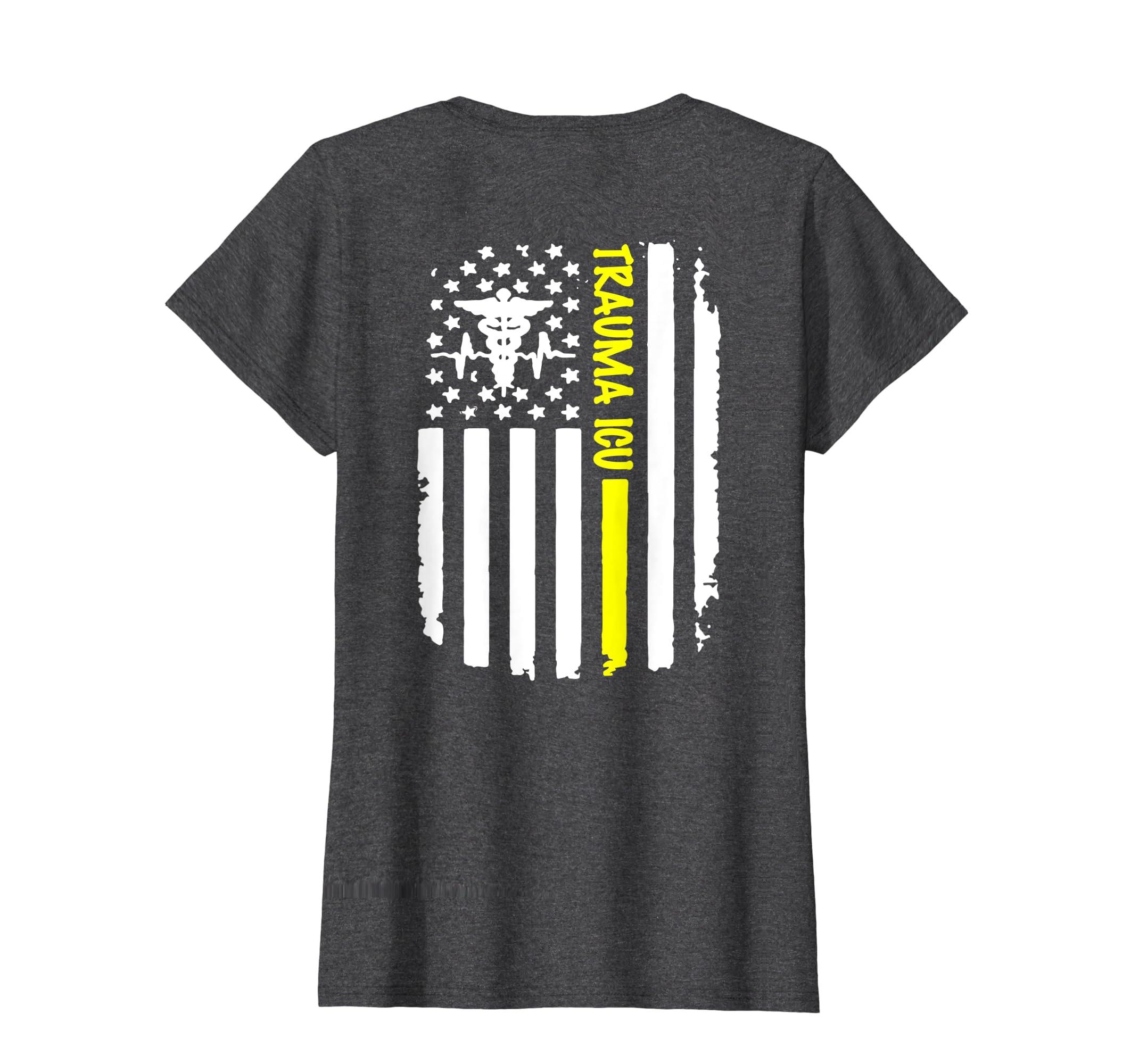 Amazon com: Trauma ICU Distressed American Flag Short Sleeve