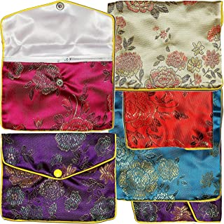 6pcs Chinese Silk Jewelry Pouches Mix Colors Red Turquoise Blue Gold 5.5x4.5 Inches