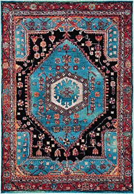 "SAFAVIEH Vintage Hamadan Collection VTH204K Traditional Oriental Living Room Dining Bedroom Area Rug 5'3"" x 7'6"" Turquoise/Black"