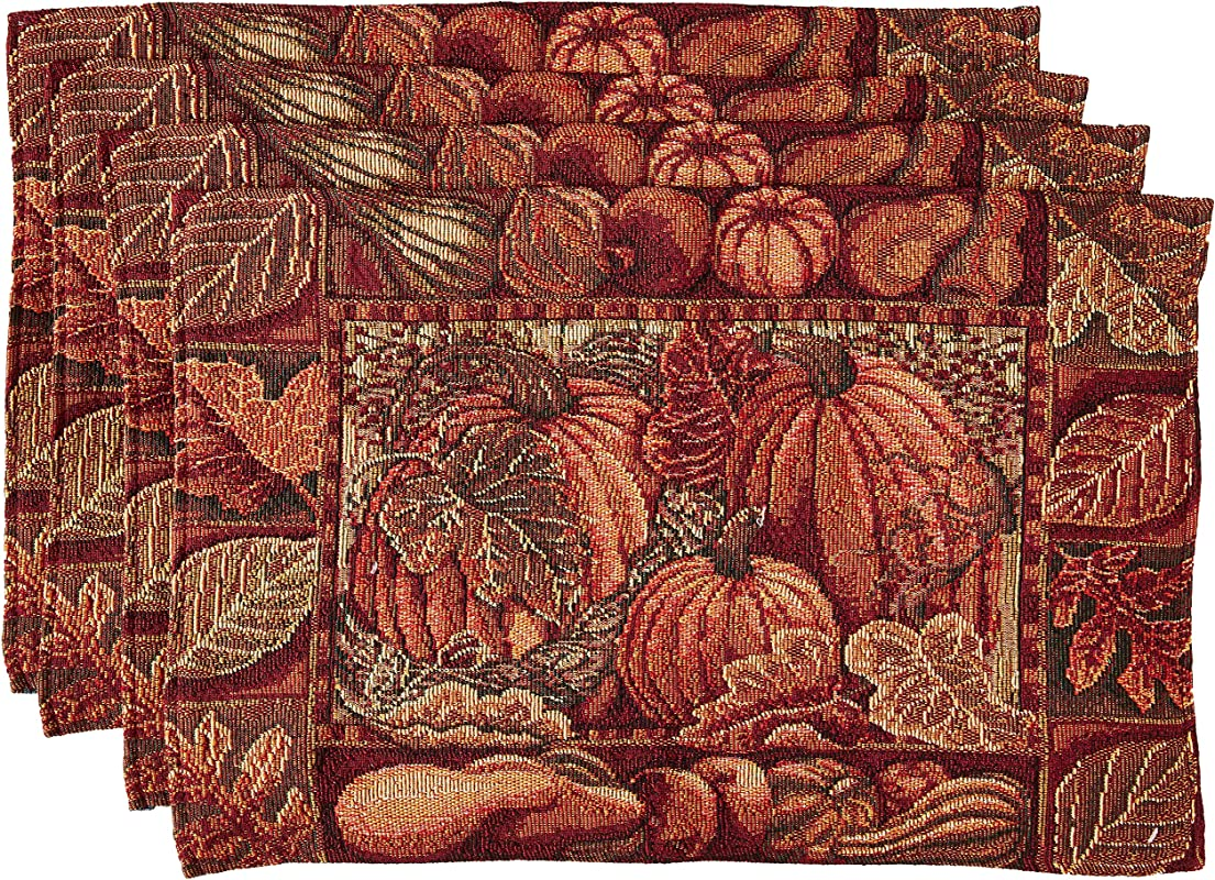HomeCrate Fall Harvest Collection Tapestry Pumpkins And Autumn Leaves Design Set Of 4 Placemats 13 X 19
