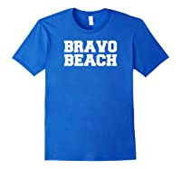 Bravo Beach South Carolina Military College Shirts Royal Blue
