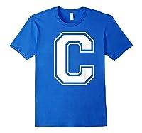 Letter C Capital Alphabet College Varsity Monogram Club T-shirt Royal Blue
