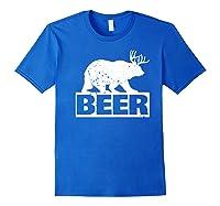 Beer Bear Plus Deer Equals Beer Funny Drinking Vintage Shirts Royal Blue