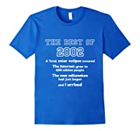2002 18th Birthday Gift For 18 Year Old Girls Shirts Royal Blue