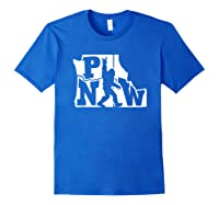Rock And Roll Silhouette Pacific Northwest Sasquatch T-shirt Royal Blue
