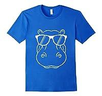 Hippopotamus Lover - Cool Hippo W/ Sunglass Tank Top Shirts Royal Blue