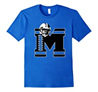 Football Monogrammed Gift Letter M Initial Shirts Royal Blue