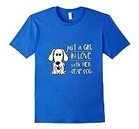 Just A Girl In Love With Her Deaf Dog Shirt, Deaf Dog Mom Royal Blue