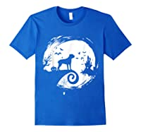 Cane Corso Halloween Costume Moon Silhouette Creepy T-shirt Royal Blue