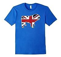 Union Jack English Bulldog Distressed Flag Uk Novelty Gift Shirts Royal Blue