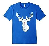 Vintage Christmas Reindeer T Shirt Royal Blue