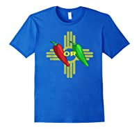 Red Or Green Chile Hatch New Mexico Zia Shirts Royal Blue