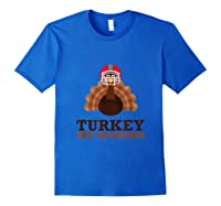 Turkey And Touchdowns Funny Thanksgiving Football T-shirt Royal Blue