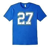 Number 27 Football Baseball Soccer Uniform T Shirt Royal Blue