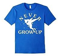 Disney Peter Pan Tinker Bell Never Grow Up Text Silhouette T-shirt Royal Blue