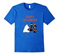 Halloween Trick Or Treaters Ghost Witch Cat Kitty Pumpkin Shirts Royal Blue