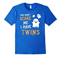 Funny Parents Of Twins Shirt Halloween Gift Royal Blue