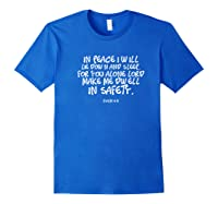 In Peace I Will Lie Down And Sleep Bible Verse Psalm 4:8 Premium T-shirt Royal Blue
