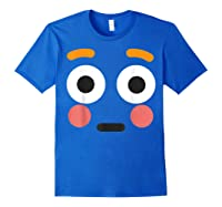 Flushed Face Emoji Easy Lazy Group Halloween Costume Shirts Royal Blue