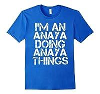 Anaya Funny Surname Family Tree Birthday Reunion Gift Idea T-shirt Royal Blue
