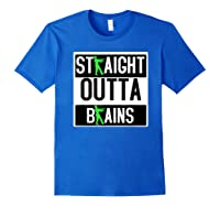 Straight Out Of Brains Funny Zombie Halloween Shirts Royal Blue