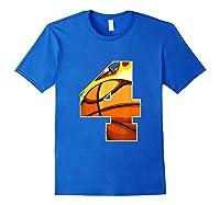 Number 4 Basketball Gift T-shirt Royal Blue