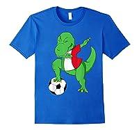 Dabbing Soccer T-rex Mexico Shirt - Mexican Football Royal Blue