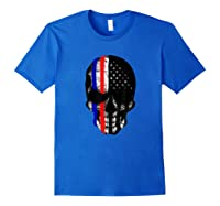 Patriot Skull Usa Flag Halloween Hunter Us Skeleton Head T-shirt Royal Blue
