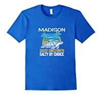 Personalized Madison Design Sassy & Salty Quote Beach Lover Premium T-shirt Royal Blue