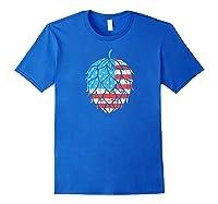Retro Hops Lover Vintage Usa American Flag Beer Graphic Shirts Royal Blue