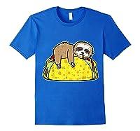 Funny Sloth Tacos Tuesday Cinco De Mayo Drink Gift Shirts Royal Blue