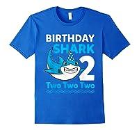 Birthday Shark 2017 2 Years Old Gift For Boy Girl Shirts Royal Blue