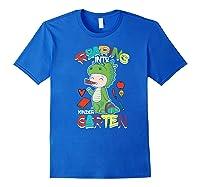Roaring Into Kindergarten Dinosaur Shirt First Day School Premium T-shirt Royal Blue