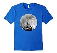 Kraken Sea Monster Sinking Ship Full Moon Shirts Royal Blue