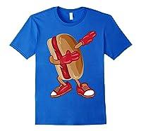 Dabbing Hot Dog Shirt   Cool American Hot Dog Sandwich Gift Royal Blue
