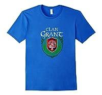 Grant Surname Scottish Clan Tartan Shield Badge Tshirt Royal Blue
