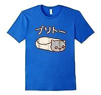 Kawaii T-shirt: Purrito Cat Japanese Version Royal Blue