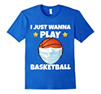 Just Wanna Play Basketball Quarantine Face Mask Basketball Shirts Royal Blue