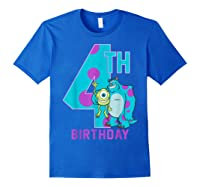 Pixar Monsters Inc Mike Sully Happy 4th Birthday Shirts Royal Blue