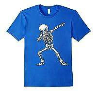 Dabbing Skeleton Halloween Costume Gift T-shirt Royal Blue