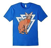 Vintage Geometric Sphynx Cat T-shirt Royal Blue