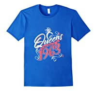 Queens Are Born In 1963 Bday Flamingo Gifts 57th Birthday T-shirt Royal Blue
