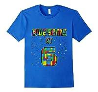 6 Years Old Birthday Gift I Age 6 Build Blocks Bricks Theme T-shirt Royal Blue