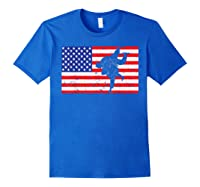 Distressed Judo Gi Usa American Flag Vintage Martial Arts T-shirt Royal Blue