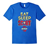Eat Sleep Scout Repeat Funny Scouting Gift Shirts Royal Blue