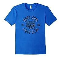 Muay Thai Fight Club Tiger Kick Boxing Gift T-shirt - Black Royal Blue
